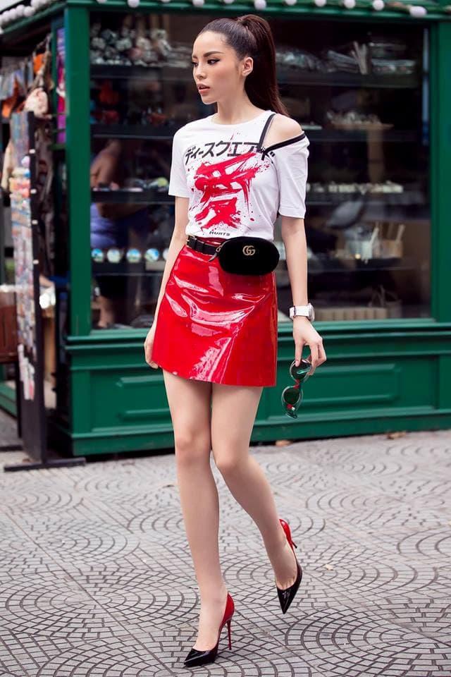 Hoa hậu Kỳ Duyên mix đồ sành điệu với áo thun - Hình ảnh 9