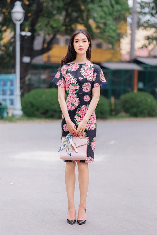 Hoa hậu Thùy Dung đẹp dịu dàng với váy in hoa - Hình ảnh 9