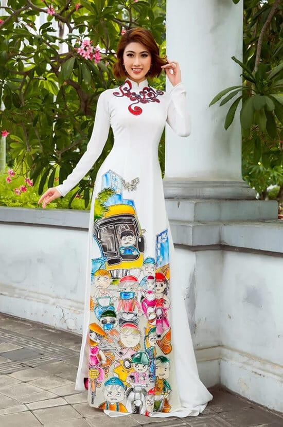Minh Châu đưa hình ảnh cuộc sống thường ngày lên áo dài - Hình ảnh 7