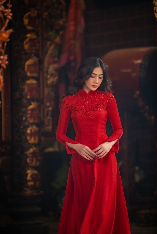 Áo dài tết của Nguyễn Hà Nhật Huy