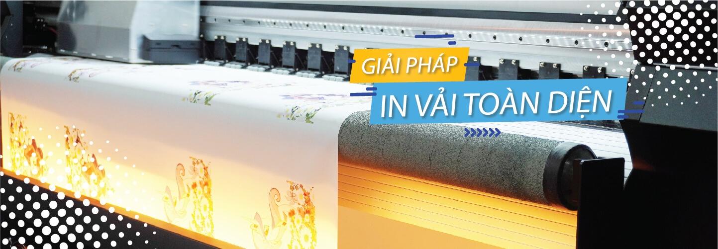 banner giới thiệu xưởng in vải kỹ thuật số vải Hoa Anh Đào