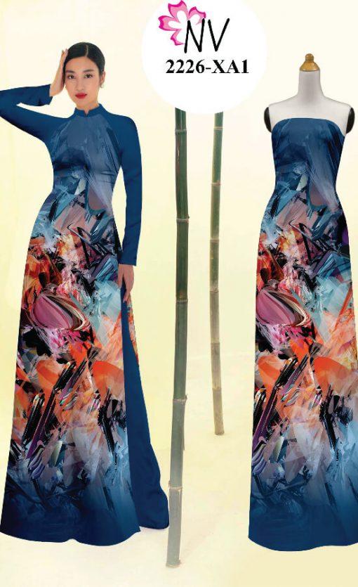 Vải áo dài hoạ tiết loang tà