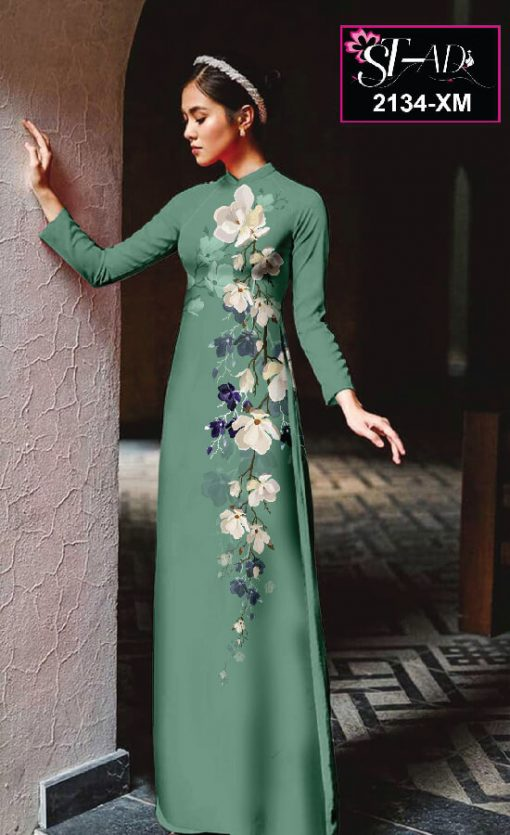 Vải áo dài hoạ tiết hoa dọc