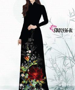 Vải áo dài hoạ tiết hoa tà