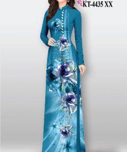 Vải áo dài hoạ tiết hoa dọc thân
