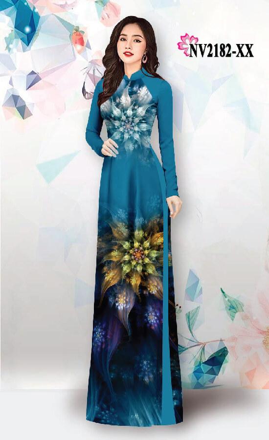 Vải áo dài hoạ tiết hoa loang
